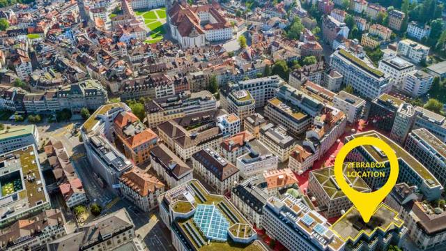 Zebrabox St. Gallen aus der Vogelperspektive